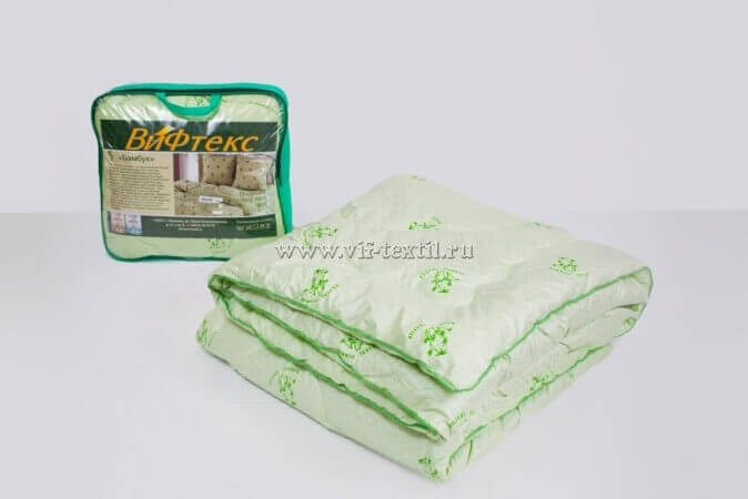 Одеяло бамбук евро Зима, 400 г/м², поплекс зеленая ветка