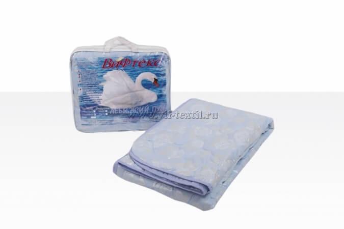 Одеяло лебяжий пух евро, 150 г/м², поплекс голубая роза