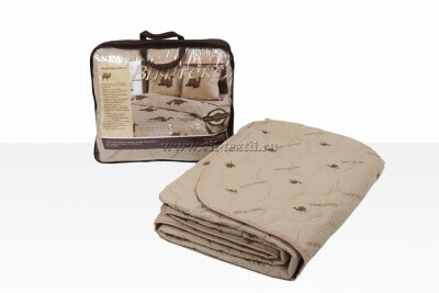 Одеяло верблюжья шерсть 1.5сп, 150 г/м², тик