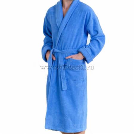 Махровый халат (мужской) цвет голубой