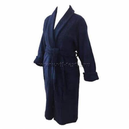 Махровый халат (мужской) цвет темно-синий