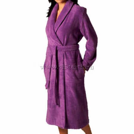Махровый халат (женский) цвет фиолетовый