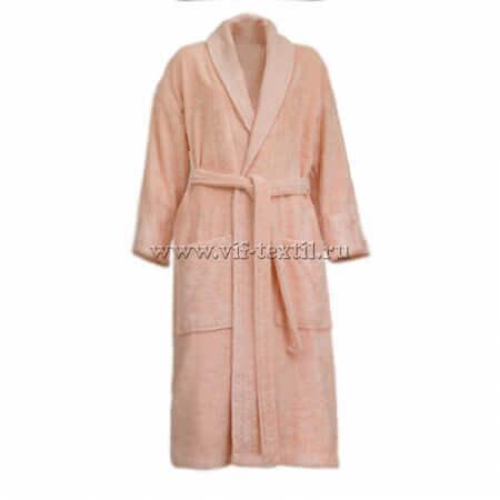 Махровый халат (женский) цвет персик