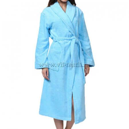 Махровый халат (женский) цвет светлая бирюза