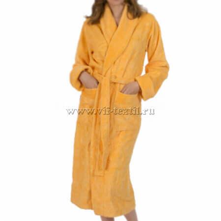Махровый халат (женский) цвет желтый