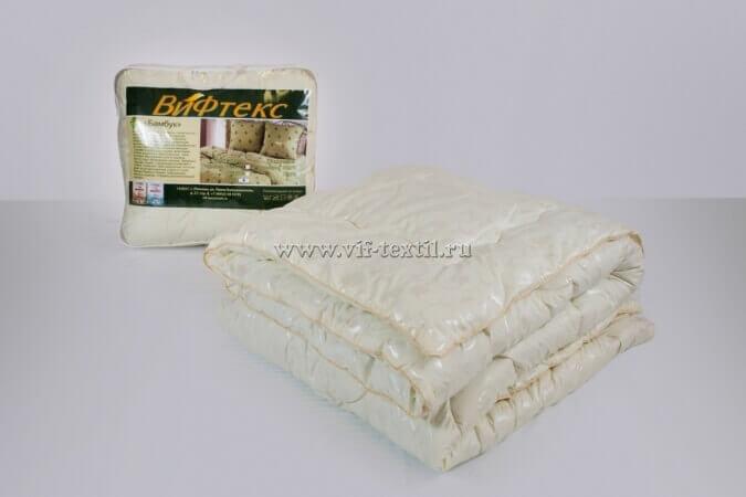 Одеяло бамбук 1.5сп Зима, 400 г/м², поплекс бежевый