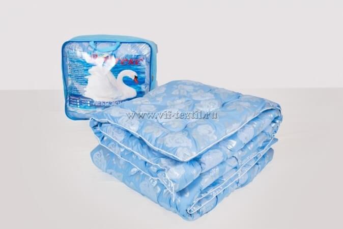 Одеяло лебяжий пух евро Зима, 400 г/м², поплекс голубая роза