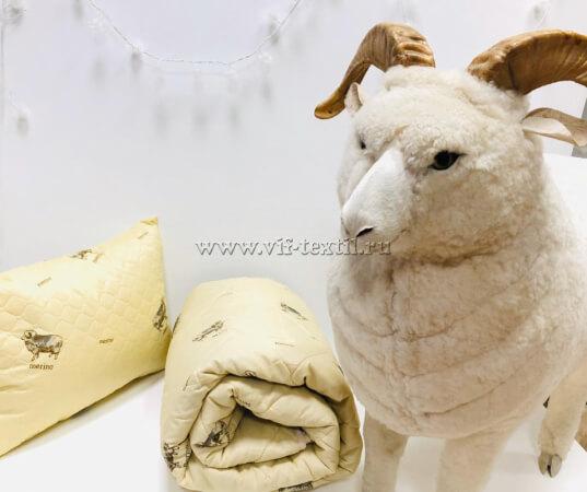 Подушка овечья шерсть, полиэстер Пакет с ручкой
