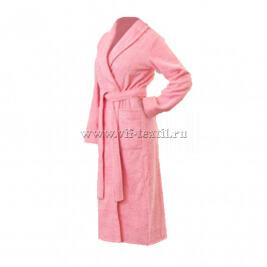 Махровый халат (женский) цвет розовый