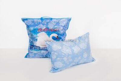 """Подушка  """"Лебяжий пух"""", искусственный, поплекс голубая роза 2х камерная(на молнии)"""